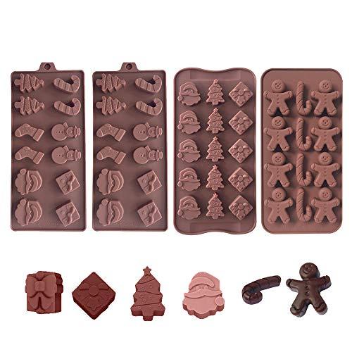 Lot de 4 moules en silicone pour chocolat, gelée, cire fondue en forme de bonhomme de neige, chaussettes, Père Noël, sapins de Noël et pain d'épices