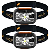 VAVOFO Rechargeable Headlamp, 500 Lumens LED Head Lamp Flashlight with Redlight and Motion Sensor Switch, Perfect for Running, Hiking, Lightweight, Waterproof, Adjustable Headband (2)