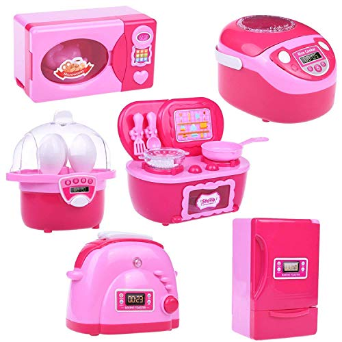 Kitchen Toys for Kids, 6PCs Mini Electric Simulation Play Kitchen Accessories Inculiding Microwave Oven, Toaster, Refrigerator, Rice Cooker, Egg Stepper, Pink Kids Cooking Set Appliances for Girls