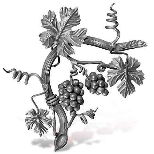 LandwarenLaden Schmiedeeisernes Zierelement Weinranke mit Trauben, Blättern und Schnörkeln - Linke Seite