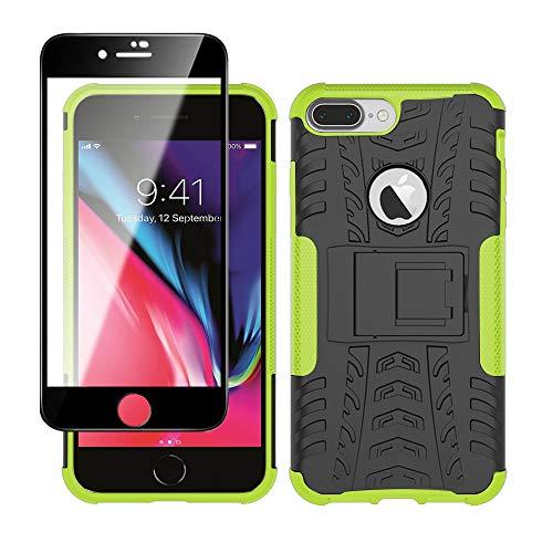 Yiakeng Cover Apple iPhone 7 Plus,Apple iPhone 8 Plus + Pellicola Vetro Temperato, Antiurto Protezione Silicone con Kickstand Rugged Custodia Case per Apple iPhone 7 Plus / 8 Plus (Verde)