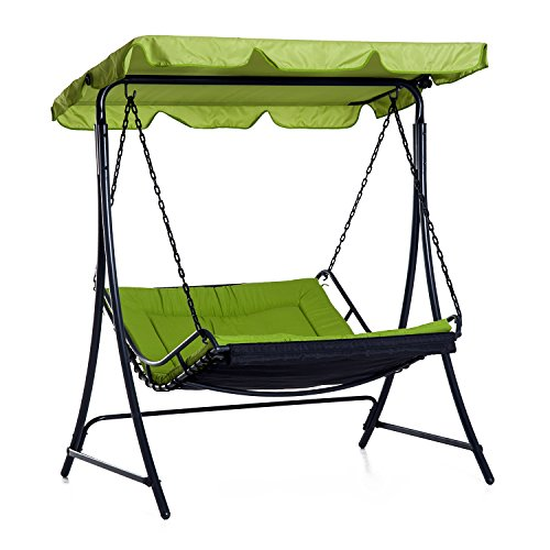 Outsunny Swing Chair Bed Canopy 2 Person Double Hammock Garden Bench Rocking Sun Lounger Outdoor Backyard Furniture with Cushion - Green