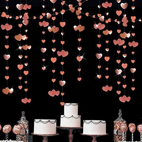 Pink Blume Girlande 16 m doppelt in Roségold mit hängendem Herz, Girlande mit Glitzer, doppelseitig aus metallischem Papier für Junggesellinnenabschied, Geburtstag, Valentinstag