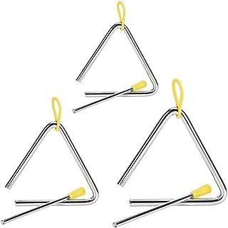 Rayong 3 Pcs Triángulos Musicales,Alta Calidad Instrumento Triángulo Music,Triángulo Percusión para Niños Music Enlightenm...