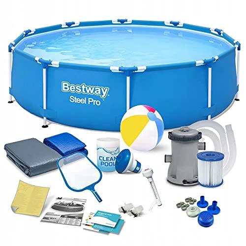 Polbaby Bestway 56679 Set Pool 305 x 76 cm Gartenpool Stahlrahmenbecken 16in1 Set mit Filterpumpe und Zubehör