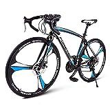 FANG - Bicicleta de carreras de 26 pulgadas, para adultos, 27 marchas, frenos de disco, cuadro de acero al carbono, color oro rosa, Unisex adulto, azul/negro