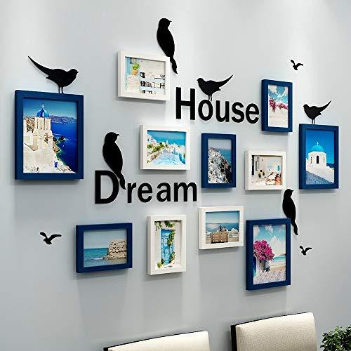 YANGMAN-F fotolijst set van 11, fotolijst met Dream House Quote Woorden 3D Muursticker voor Familiekamer Art Decoratie, Wit en Blauw