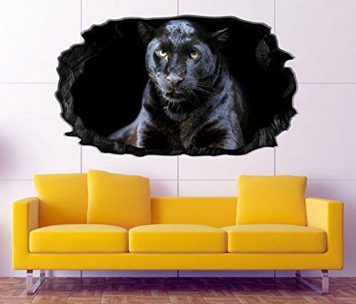 3D Wandtattoo Puma schwarzer Jaguar Panther Augen Bild Wandbild Wandsticker Wandmotiv Wohnzimmer Wand Aufkleber 11F353, Wandbild Größe F:ca. 97cmx57cm