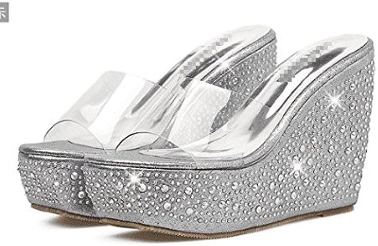 AWXJX été Tongs Femme Chaussures Confortable Ouvert Toe Talon Haut Occasionnels Bas épais