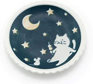 Japanese Blue Lucky Cat and Moon Design Plate, 5 1/2 Inch