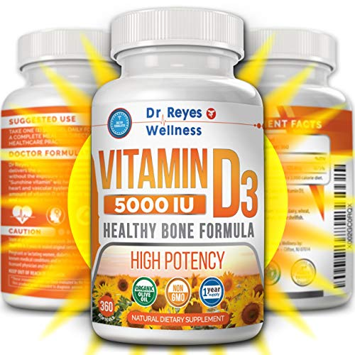 Vitamin D3 5000 IU Supplement | 360 Mini Softgels | with Organic Olive Oil | Non-GMO | Gluten Free VIT D | Healthy Muscle Function | Best Immune Support | Bone Joint Health | 1 Year Supply