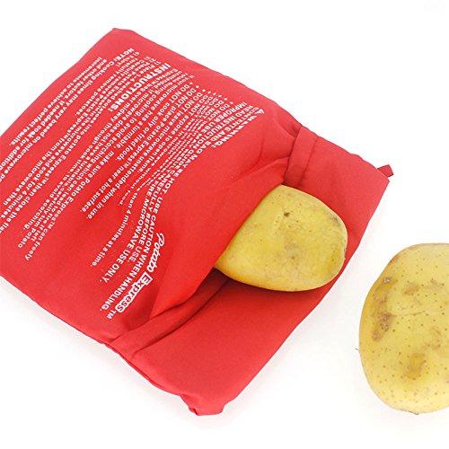 ONEVER Wiederverwendbarer Mikrowellen-Kartoffelkocher Kartoffelbeutel-Kocher Rote Mikrowellen-Kartoffelkochtasche Perfekte Kartoffeln in nur 4 Minuten