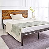 Kealive Full Size Bed Frame with Wood Headboard, Rustic Style Platform Bed Frame, Mattress Foundation, No Box Spring Needed, Strong Metal Slats Support, Easy Assembly