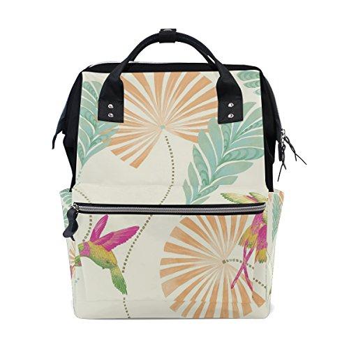 tizorax Kolibri Floral Windel Rucksack Große Kapazität Baby-Bag Multifunktions-Wickeltaschen Mom Rucksack Reisen für Baby Care
