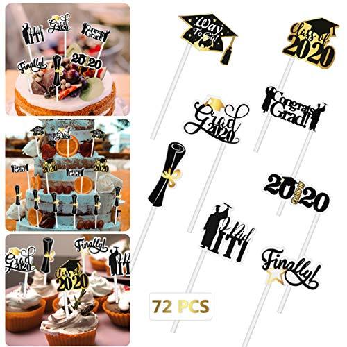 Amosfun 72PCS Graduation Cupcake Toppers 2020 Herzlichen Glückwunsch Grad Cake Toppers Essen Toothpick Toppers Vorspeise Picks für Abschlussfeier Dekorationen Graduate Supplies