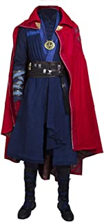 Superhero Doctor Cosplay Blue Costume with Red Cloak Halloween Full Set Suit