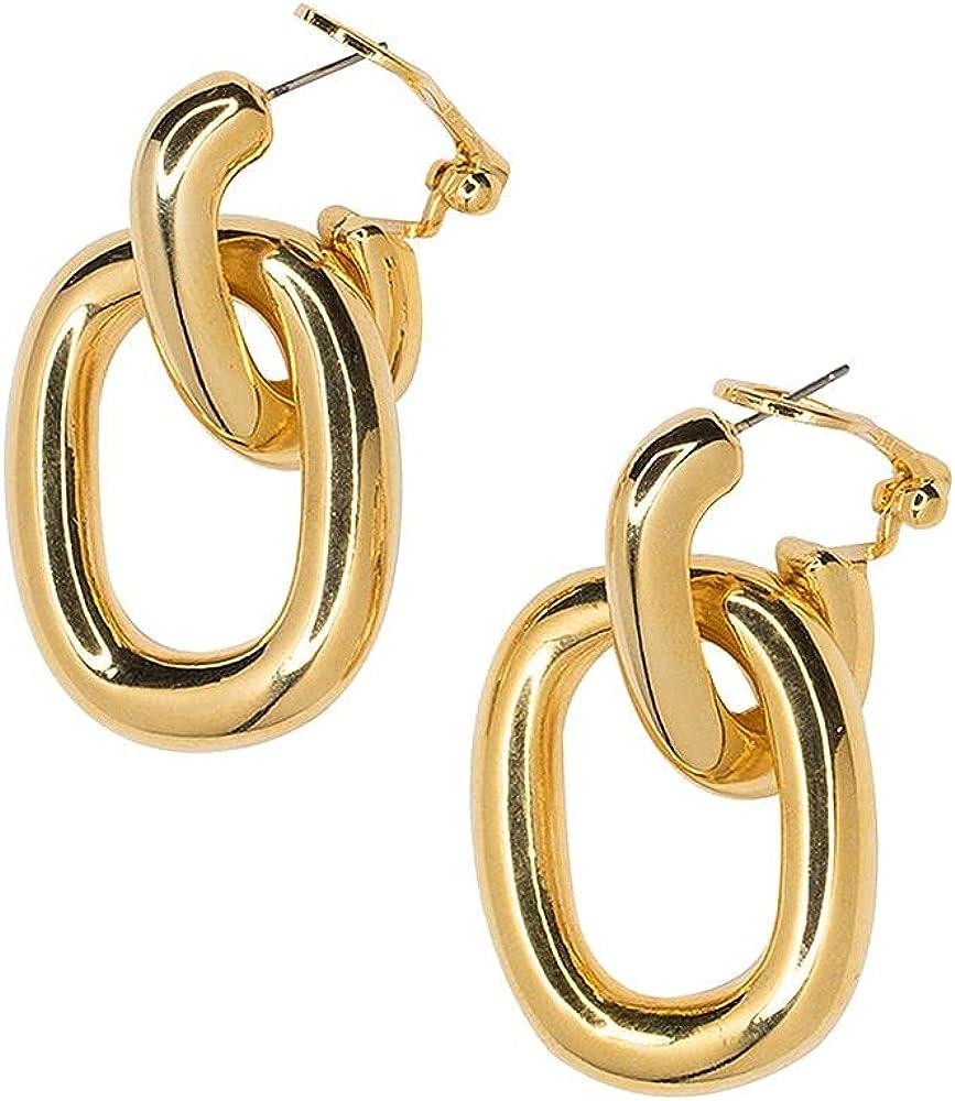 Kenneth Jay Lane Goldplated Link Drop Pierced Earrings