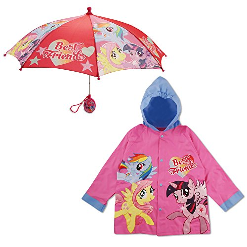 Hasbro Girls' Little Friends Hooded Rain Slicker and Umbrella with Rainwear Set, Pink, Age 2-3