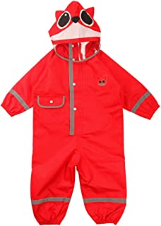 Toddler Rain Jacket Kids Raincoat One Piece Rain Suit Hooded Reflective Coverall Fox Red S