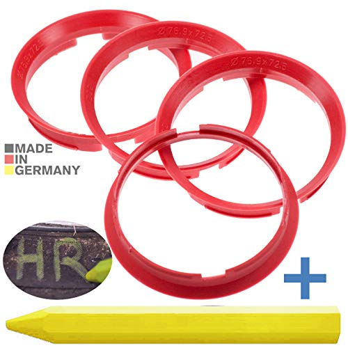 4X Zentrierringe Kirschrot 76,9 mm x 72,6 mm + 1x Reifen Kreide Fett Stift