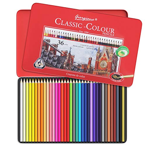 36 Matite Colorate con Scatola di Metallo, Matite Colorate Vive, Matite Colorate per Disegnare e Miscelare i Colori, Set di Matite Colorate Ideali per Adulti, Bambini, Artisti e Principianti