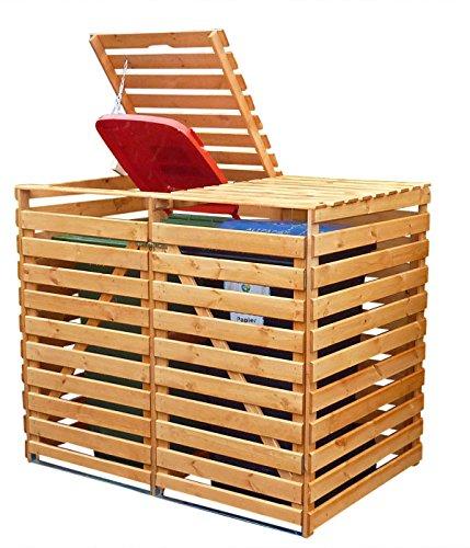 Mülltonnenbox Holz V für zwei 240 Liter Tonnen, Farbe Honigbraun
