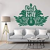 ASFGA Star Rock Silhouette Wall Sticker Vinyle Autocollant Guitare Applique Musicale Musique Familiale Adolescent Hobby Chambre Salon Décoration Autocollant De Voiture Bar Club 122x84 cm