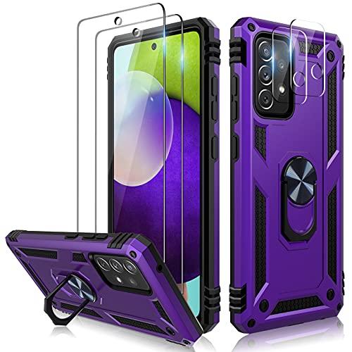 TOCOL Funda Compatible con Samsung Galaxy A52 5G, 2 Piezas Protector de Pantalla 2 Piezas Lente de cámara Vidrio Templado Carcasa 360 Anillo Soporte Giratorio Militar Grado Antigolpe Case, Rojo