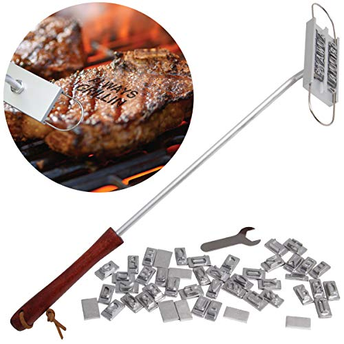 Hammer + Axe Customizable BBQ Meat Branding Stick with 60+ Letters and Spaces, Create Unique Messages to Brand Steaks, Chicken, Sausage, Tofu and More, Grilling Tool Gift for The Grill Master