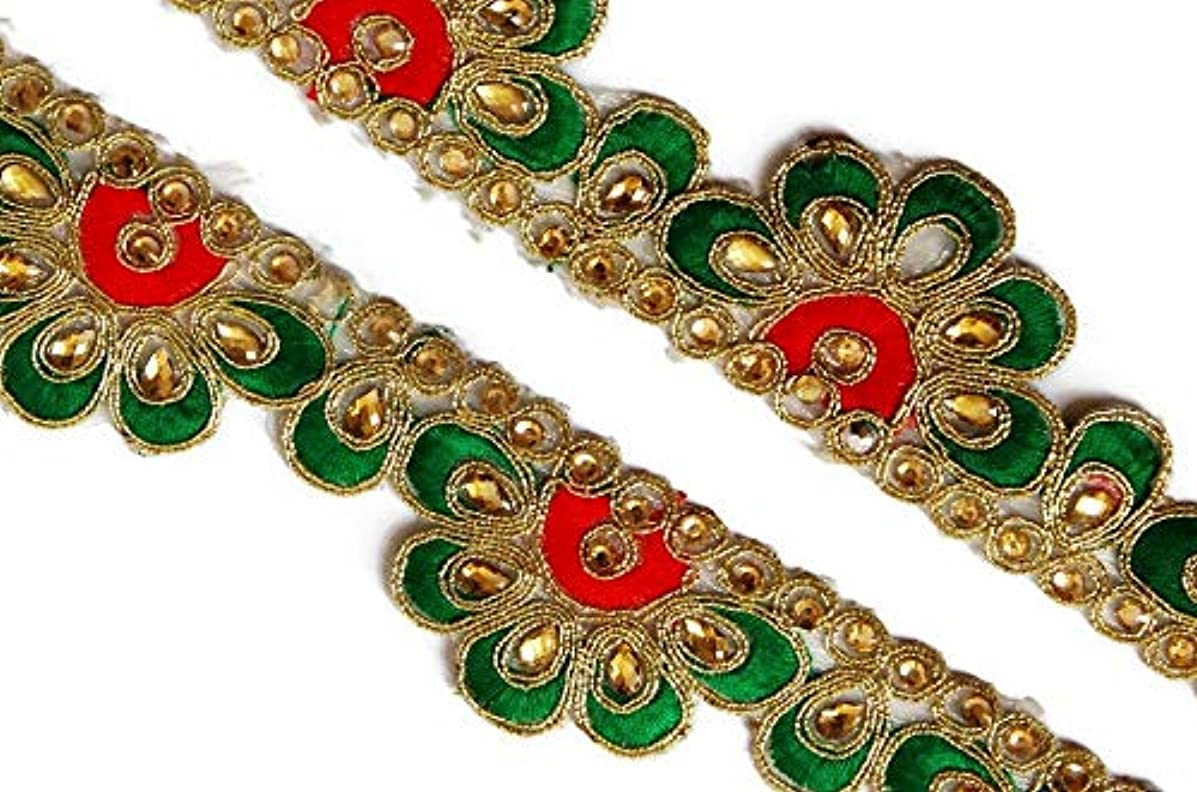 Kundan Lace,Glass Beads,Stone Work Embellishment Border,Bollywood Sari-Price per 01 Yard-Width 02 Inch-KB154