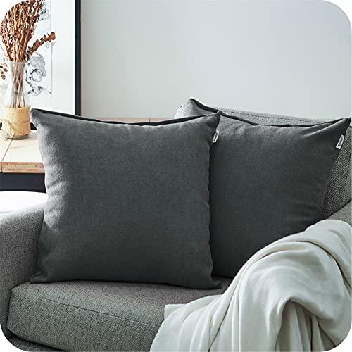 Topfinel Juego 2 Fundas Cojines Hogar Algodón Lino Decorativa Chenilla Almohadas Fundas de Color sólido para Sala de Estar sofás Gris Oscuro 50x50cm