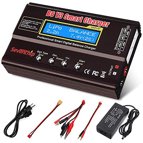 Yvyan B6 V3 Lipo Battery Charger 80W 6A RC Battery Balance Discharger for LiPo Li-ion Life NiCd NiMH LiHV PB Rc Hobby Battery Balance Charger with 12v 5A AC Power Adapter