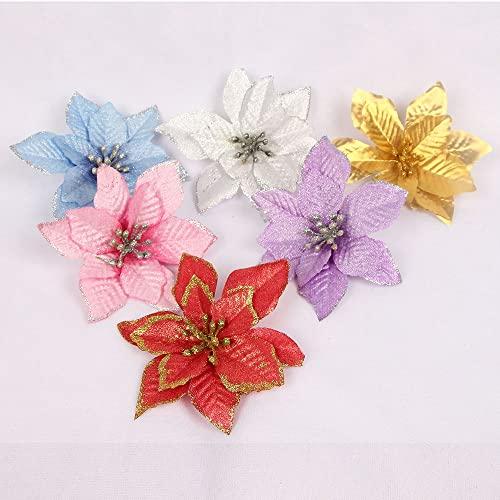 BUTSKY Russell Hobbs 5/10 Piezas de Decoraciones navideñas Brillo Flor Artificial Flor de Navidad decoración Fiesta Familia 2022 Regalo de decoración de año Nuevo Elemento de Filtro