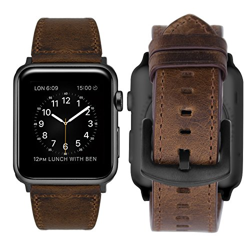 iBazal Compatible iWatch Series 4 Correa 44mm Cuero, Compatible iWatch Correa 42mm Piel Genuino Compatible iWatch Series 4/ Series 3/ Series 2/ Series 1 42mm 44mm - Sencillo Marron