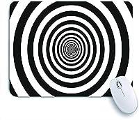 ECOMAOMI 可愛いマウスパッド 催眠サークル抽象的な光学スパイラルスワールは、黒と白の回転の円形パターンに催眠術をかけます 滑り止めゴムバッキングマウスパッドノートブックコンピュータマウスマット