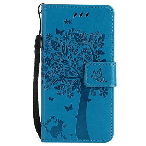 ISAKEN Compatibile con Samsung Galaxy A3 2017 Custodia, Libro Flip Cover Portafoglio Wallet Case Albero Design in Pelle PU Protezione Caso con Supporto di Stand/Carte Slot/Chiusura - Blu