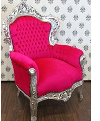 Casa Padrino Barock Sessel 'King' Pink/Silber