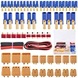 Glarks 76pcs T-Plug / XT60 / XT90 / EC3 / EC5 Male & Female Plug Adapter Connectors Kit [Including: 14 GA Silicone Wire and Shrink Tubing] for RC Lipo Battery Accessories