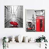 Cuadros decoración salón o dormitorio moderno. 2 cuadros con Marco. Personalizado. Díptico, 'Cabina Roja'· Elige tamaño y color del marco. Hecho en España (50 x 60 cm, MARCO BLANCO)