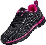 Zapatillas de Seguridad Mujer,LM170130 S1 SRC Anti-Estático Anti-Deslizante Ultraligero Transpirables 42 EU,SRC Rosa Negro