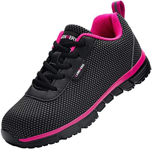 Zapatillas de Seguridad Mujer,S1/SBP SRC Anti-Estático/Anti-Punción Anti-Deslizante Ultra Liviano Transpirable Zapatos de Seguridad