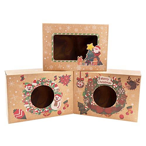 12 cajas de regalo navidad, cajas papel caramelo juego decorativa cajas de dulces,pasteles,galletas,dulces,Cupcakes,Candy y hecho a mano bebé de cajas de regalo para Navidad,cumpleaños,vacaciones