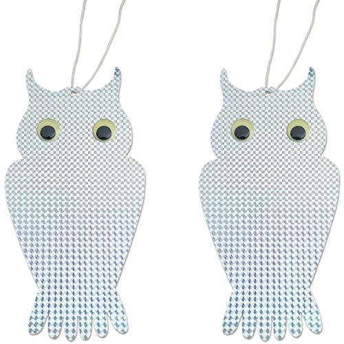 tiroba 2 Stück Vogelabwehr in Eulenform, Reflektierender Vogelschreck als Eule, inkl. Ebook Vögel vertreiben
