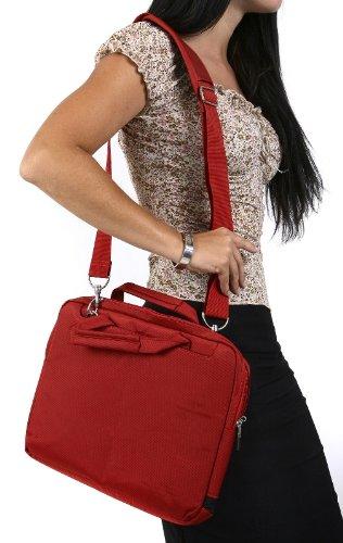 Navitech rotes Premium Leder Case/Cover Trage Tasche/speziell für das Medion Akoya P2214T 29,5 cm/11,6