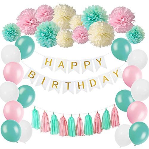 53 Pcs Decoración para fiestas, Pancartas Happy Birthday, Papel Pom Poms Flores Tissue Tassel,Globos, Party Supplies, para Cumpleaños Carnaval Fiesta de bienvenida al bebé Ducha nupcial