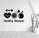 Calcomanía de vinilo para pared de estilo de vida saludable para la empresa, motivación deportiva, dieta, gimnasio,comedor, decoración, pegatina de pared 64x42cm