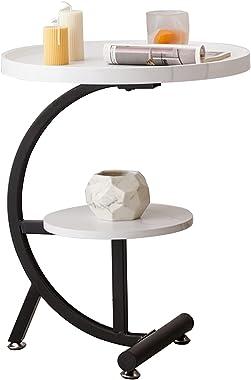 WWWRL Double Couche Ronde Petite Table D'appoint 50 * 50 * 60cm Canapé Table D'appoint De Travail Salon Petit Porte-Fleurs At