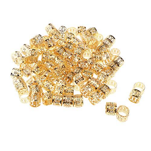 CUTICATE 100x Haarschmuck Dreadlocks Perlen Haarperlen - Gold