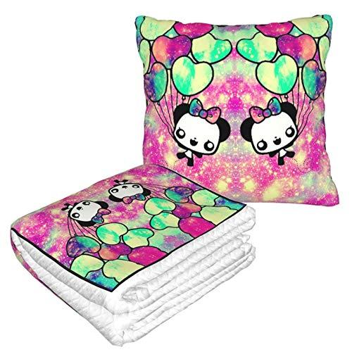 Manta suave 2 en 1 con diseño de globo panda de forro polar, manta de sofá, manta de oficina para hombres y niños