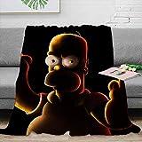 Elliot Dorothy - Manta de forro polar, tamaño Bart Simpson, manta térmica de algodón, para todas las estaciones, cálida, supersuave, 152 x 127 cm